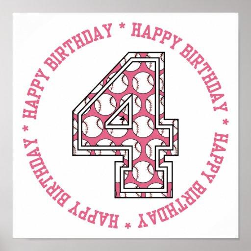 4to número feliz del béisbol del cumpleaños póster