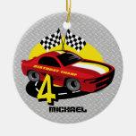 4to ornamento del cumpleaños del coche de carreras ornamentos de reyes magos