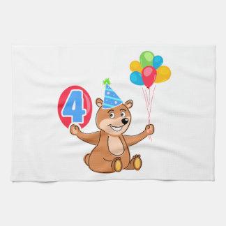4to Oso del cumpleaños con los globos Toallas De Mano