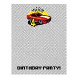 4to papel con membrete del cumpleaños del coche de membrete