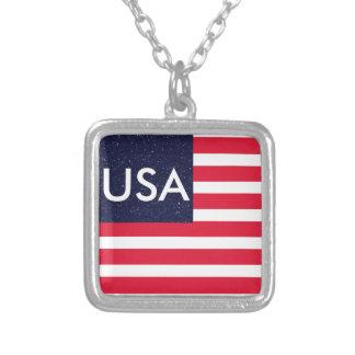 4to patriótico azul blanco rojo de los E.E.U.U. Colgante Cuadrado