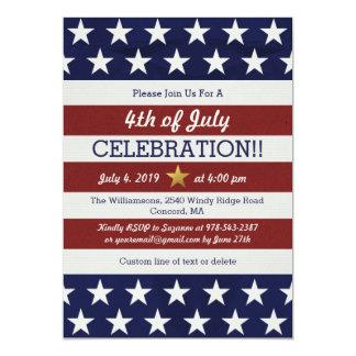 """4to patriótico de la bandera americana de los invitación 5"""" x 7"""""""