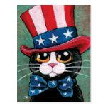 4to patriótico del gato el | del smoking de la pos tarjeta postal