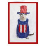 4to patriótico del gato siamés de julio tarjeton