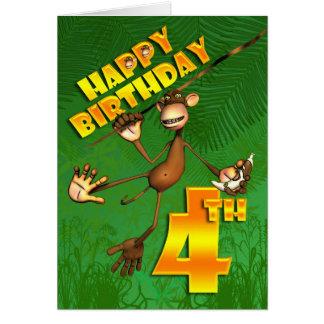 4to plátano feliz del mono del cumpleaños tarjeta de felicitación