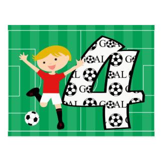 4to Postal roja y blanca del cumpleaños del fútbol