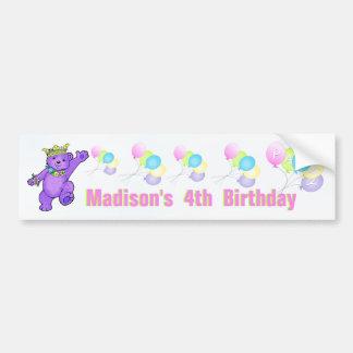 4to Princesa púrpura Bear de la fiesta de cumpleañ Pegatina De Parachoque