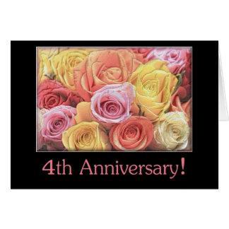 4to Ramo color de rosa mezclado del aniversario de Felicitacion