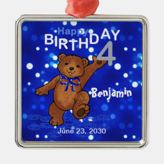 4to Recuerdo del oso de peluche del cumpleaños Adorno Navideño Cuadrado De Metal