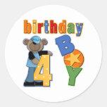 4to Regalo de cumpleaños Etiquetas Redondas