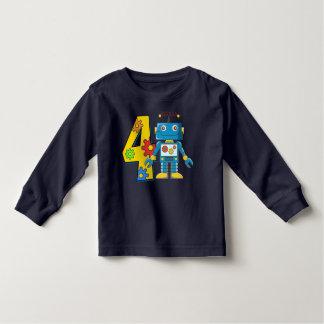 4to Robot del cumpleaños Playera De Bebé