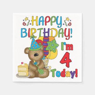 4to Servilletas de papel del cumpleaños del oso de