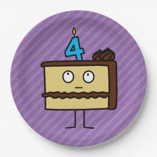 4to Torta de cumpleaños con las velas Platos De Papel