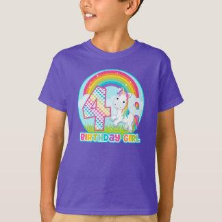4to Unicornio del arco iris del cumpleaños - chica Playera