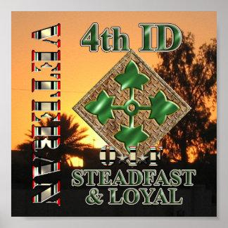 4to Veterano de la división de infantería OIF Póster