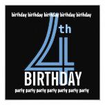 4to W689F azul de la fiesta de cumpleaños y negro Invitación 13,3 Cm X 13,3cm