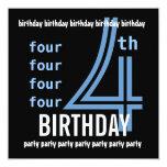 4to W689G azul de la fiesta de cumpleaños y negro Invitación 13,3 Cm X 13,3cm