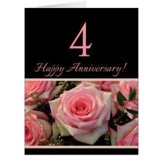 4tos rosas felices del aniversario tarjeta de felicitación grande