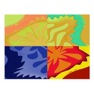 4way - a beautiful 4 squares abstract postcard