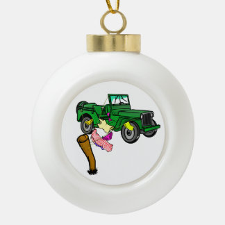 4WD off roading Ceramic Ball Christmas Ornament