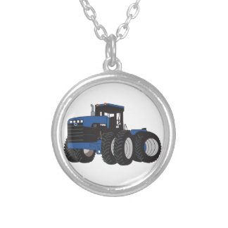 4WD Tractor Silver Plated Necklace