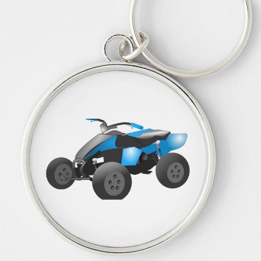 4x4 ATV se divierte los regalos azules del destino Llavero Redondo Plateado