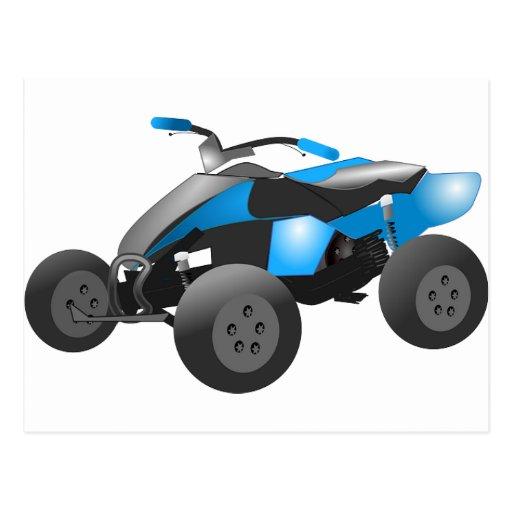 4x4 ATV se divierte los regalos azules del destino Tarjeta Postal