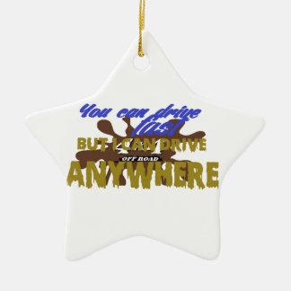 4x4 de la impulsión del camino dondequiera adorno navideño de cerámica en forma de estrella