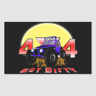 4x4 Get dirty as the sun comes up Rectangular Sticker