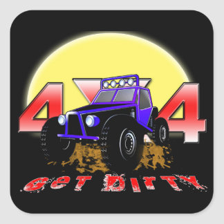 4x4 Get dirty as the sun comes up Square Sticker