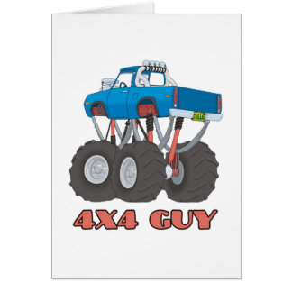 4x4 Guy: Blue, lifted off-road Monster Truck Card