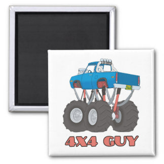 4x4 Guy: Blue, lifted off-road Monster Truck Magnet
