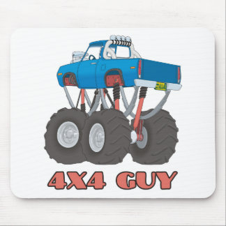 4x4 Guy: Blue, lifted off-road Monster Truck Mouse Pad