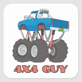 4x4 Guy: Blue, lifted off-road Monster Truck Square Sticker