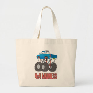 4x4 Madness: High lifted off-road Monster Truck Large Tote Bag