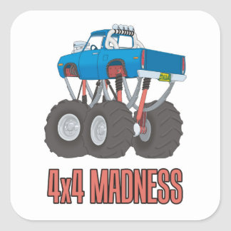 4x4 Madness: High lifted off-road Monster Truck Square Sticker