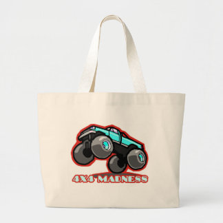 4x4 Madness: Jumping off-road Monster Truck Large Tote Bag