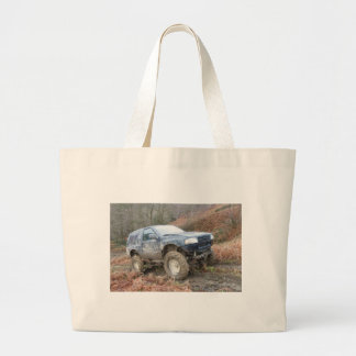 4x4 Off Roader on mud Large Tote Bag
