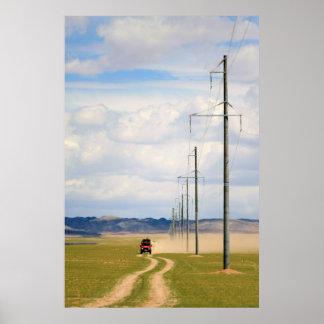 4X4 Vehicles On Dirt Road, Gobi Desert Print