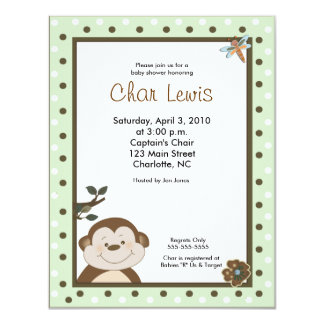 4x5 Bambino Monkey Green Baby Shower Invitation
