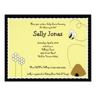 "4x5 Bee Happy Bumblebee Baby Shower Invitation 4.25"" X 5.5"" Invitation Card"