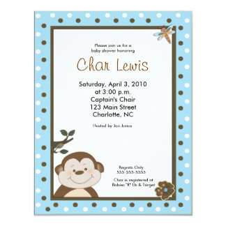 4x5 Blue Bambino Monkey Baby Shower Invitation