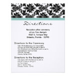 4x5 Directions Card Black Damask Blue Custom Invitation
