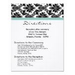 4x5 Directions Card Black Damask Blue Personalized Invitation