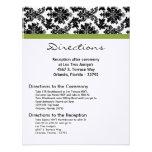 4x5 Directions Card - Black Damask Green Reception Custom Invites