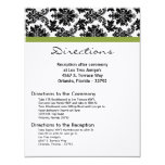 4x5 Directions Card - Black Damask Green Reception Custom Invites