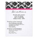 4x5 Directions Card Black Damask Hot Pink Receptio Custom Invitation