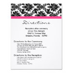 4x5 Directions Card Black Damask Hot Pink Receptio Custom Invitation