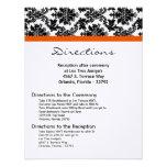 4x5 Directions Card Black Damask Orange Reception Personalized Invitation