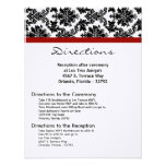 4x5 Directions Card Black Damask Red Reception Invitation